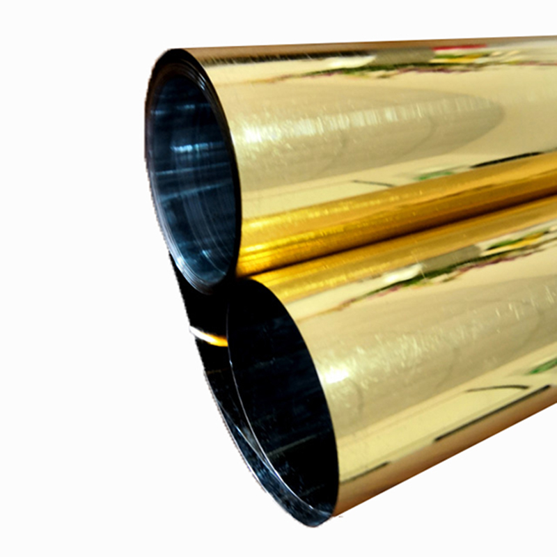 120 Micron Mylar Film High gloss Gold Metallized PET Film Rolls For Thermoforming
